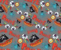 海盗党无缝的样式 重复网和印刷品目的五颜六色的对象背景 标志艺术 库存例证