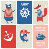 海盗卡片 免版税库存图片