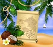 海盗在热带背景的珍宝地图 免版税库存图片