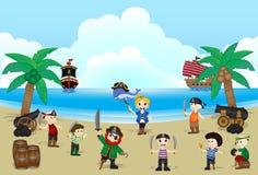 海盗孩子的例证在海滩的 免版税库存图片