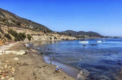 海盗小海湾海滩,加利福尼亚,美国 免版税库存照片