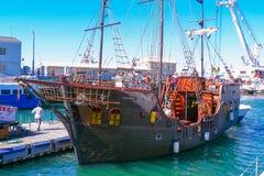 海盗帆船在开普敦港口南非 免版税库存图片