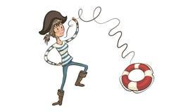 海盗投掷救生圈 女孩海盗 动画片海盗女孩摇动 免版税库存照片