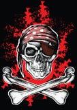 海盗旗与横渡的骨头的一个海盗标志 免版税库存照片