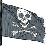 海盗旗子的传染媒介剪影 库存照片