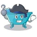 海盗浴缸字符动画片样式 库存照片