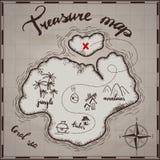 海盗珍宝地图手拉的动画片贷方在老纸纹理,在无人居住的海岛发怒标志方式查寻金子ch的棕榈 向量例证