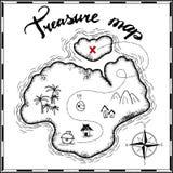 海盗珍宝地图手拉的动画片贷方在老纸纹理,在无人居住的海岛发怒标志方式查寻金子ch的棕榈 皇族释放例证