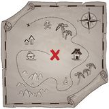 海盗珍宝地图手拉的动画片贷方在老纸纹理,在无人居住的海岛发怒标志方式查寻金子ch的棕榈 库存例证