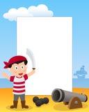 海盗男孩照片框架 库存照片