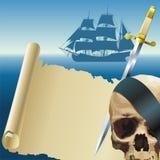 海盗的羊皮纸 库存图片