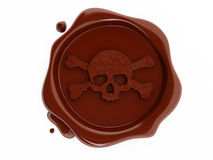 海盗红色头骨符号蜡 免版税库存照片