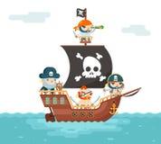 海盗船乘员组Baccaneer阻饶议事的议员海盗海狗水手Fantasy RPG指挥珍宝比赛字符平的设计 库存图片