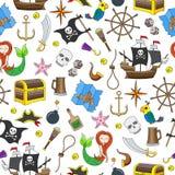 海盗行为题目的无缝的例证和海旅行上色在白色背景的象 皇族释放例证