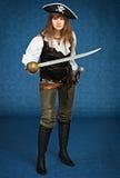 海盗诉讼的少妇与军刀 库存图片