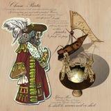 海盗-海上的航海 手拉和混合画法 库存图片
