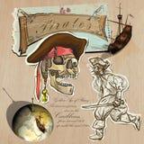 海盗-黄金时代 手拉和混合画法 免版税库存图片