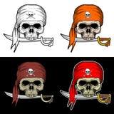 海盗头骨叮咬有4个样式颜色的一把剑 向量例证