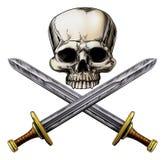 海盗头骨和十字架剑 向量例证