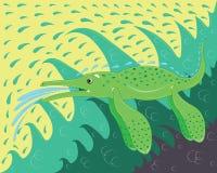 海绿色恐龙浮游物在海挥动 库存图片