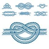 海船绳索打结传染媒介例证被隔绝的海洋海军缆绳自然滑车标志 向量例证