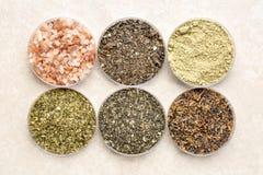 海草和海盐-补充营养 库存照片