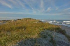 海草盖了在海滩外面银行北卡罗来纳的沙丘 免版税图库摄影