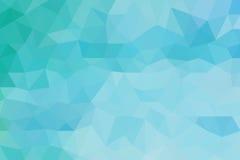 海蓝色多角形摘要背景 免版税库存照片