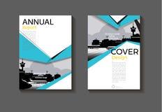 海蓝色设计现代抽象布局背景现代盖子书套小册子盖子模板,年终报告,杂志和 向量例证