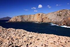 海视图在Cala Domestica,撒丁岛,意大利 库存照片