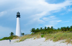 海角位于Key Biscayne的佛罗里达灯塔 库存图片