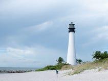 海角位于Key Biscayne的佛罗里达灯塔 免版税图库摄影