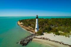 海角佛罗里达灯塔天线图象 免版税库存图片