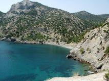 海角和峭壁沿海克里米亚 免版税图库摄影
