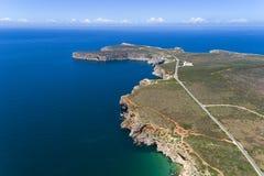 海角圣文森& x28的鸟瞰图; Cabo de Sao Vincente& x29; 在萨格里什 免版税图库摄影