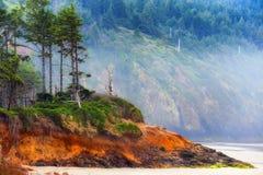 海角在俄勒冈海岸的监视海滩 免版税库存图片