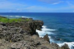 海角在冲绳岛北部的Hedo海岸线  图库摄影