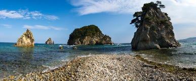 海角在日本海的Gorshkov的杉木海湾 库存照片