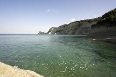 海角峭壁corfu drastis希腊 免版税库存照片