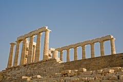 海角希腊poseidon sounion寺庙 免版税图库摄影