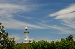 海角拜伦灯塔。新南威尔斯,澳大利亚 免版税库存图片