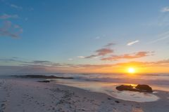 海角海滩日落 库存图片