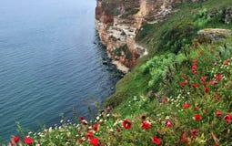 海角陡峭的海岸  库存照片