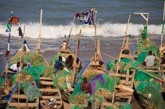 海角费用海滩的,加纳渔夫 免版税图库摄影