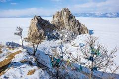 海角Burkhan在奥尔洪岛的僧人岩石Baikal湖的 免版税图库摄影