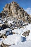 海角Burkhan在奥尔洪岛的僧人岩石Baikal湖的 库存图片