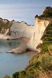 海角corfu drastis希腊海岛日落 库存照片