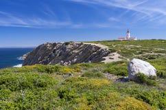 海角Espichel灯塔,葡萄牙 图库摄影