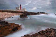 海角Raso灯塔在卡斯卡伊斯,葡萄牙 库存照片