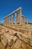 海角Sounion 一个古希腊寺庙波塞冬,海的神的废墟站点在古典神话方面 免版税库存照片